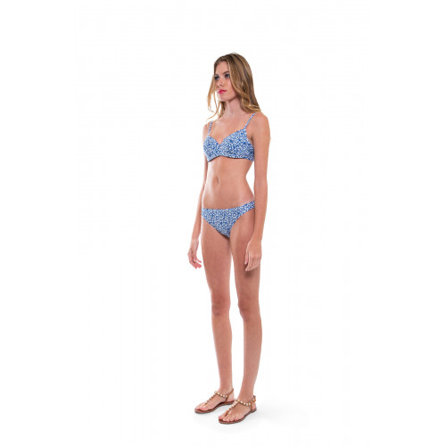 "Ivory two-pieces swimsuit with blue print ""Push Up"" Tory Burch for women"