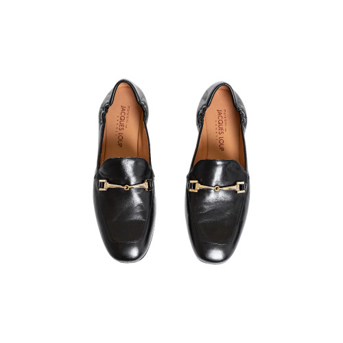 Black moccasins with golden metallic bit Jacques Loup for women