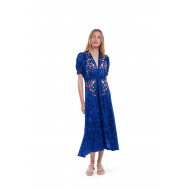 Long indigo blue silk dress...