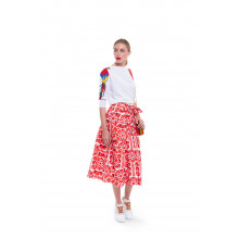 Red and white skirt of Stella Jean for women