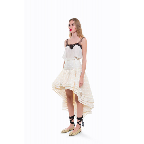 Ivory skirt with dots Marc...