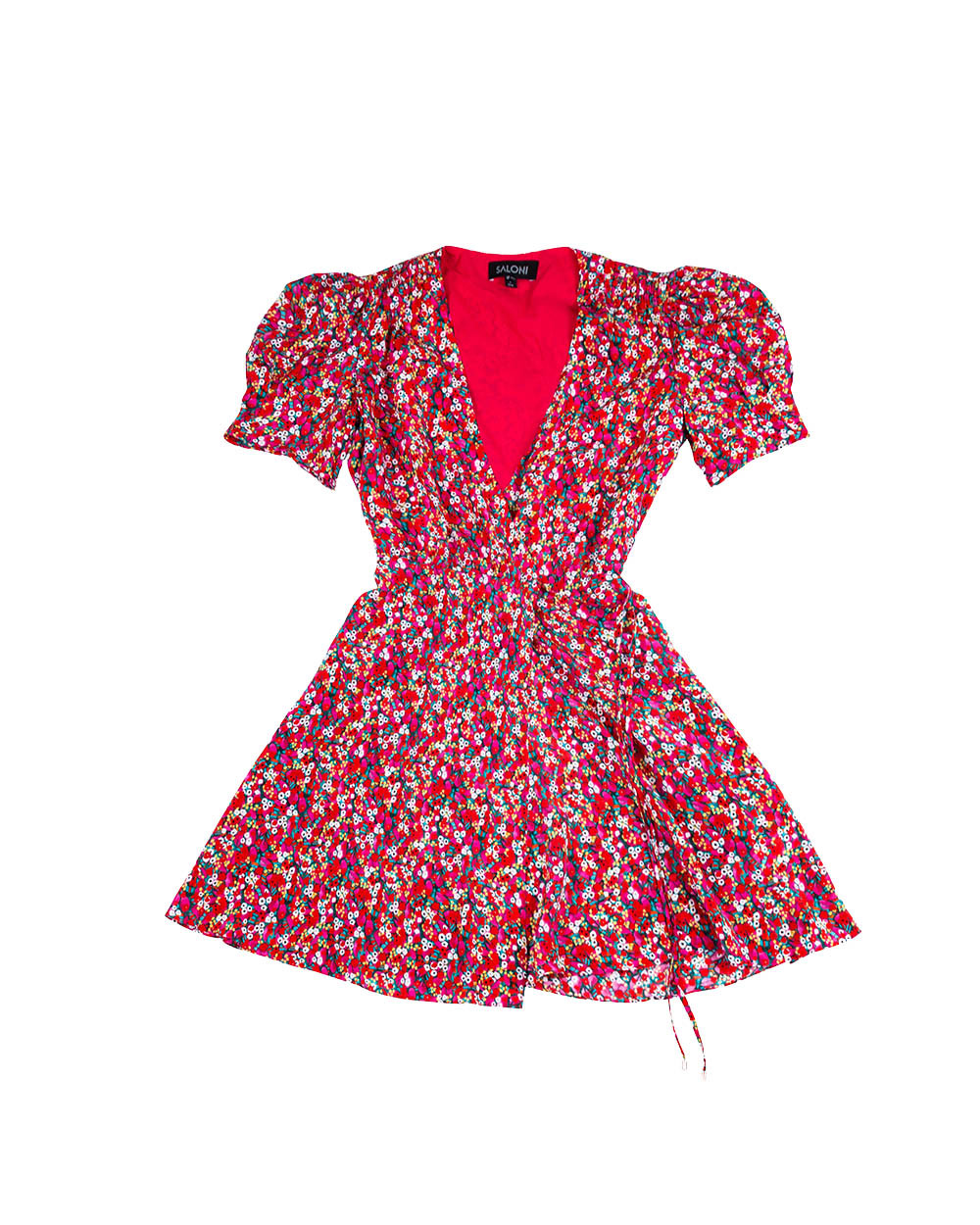 "Robe Saloni ""Léa"" rouge et multicolor"