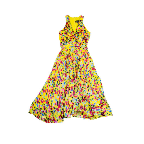 Achat Long yellow silk dress with... - Jacques-loup