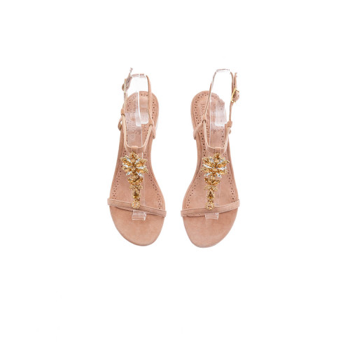 Pink powder sandals with...