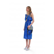 Blue dress with white print...