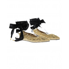 Gold colored ballerinas with ribbon Jacques Loup for women