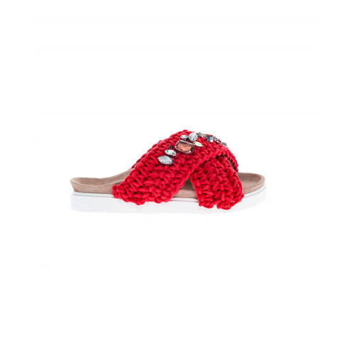 Red mules decorated with stones Inuikii for women