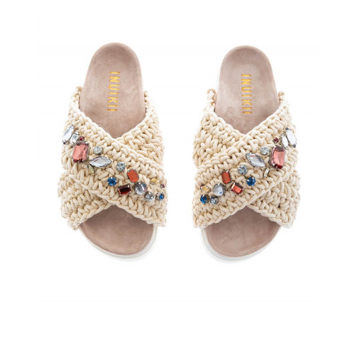 White mules decorated with stones Inuikii for women