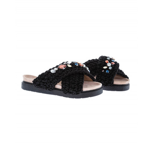 Black mules decorated with stones Inuikii for women
