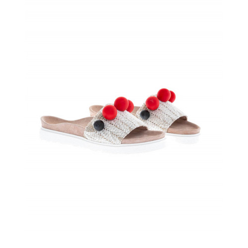 Beige mules with decorative balls Inuikii for women