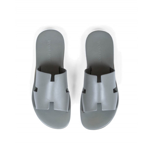 "Grey mules with ""H"" strap Jacques Loup for men"