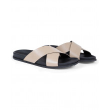 Putty colored mules with crossing straps Jacques Loup for men