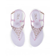 Pink thong sandals with Swarovsky stones Jacques Loup for women
