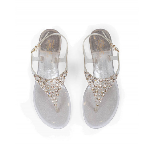 Gold colored thong sandals with Swarovsky stones Jacques Loup for women