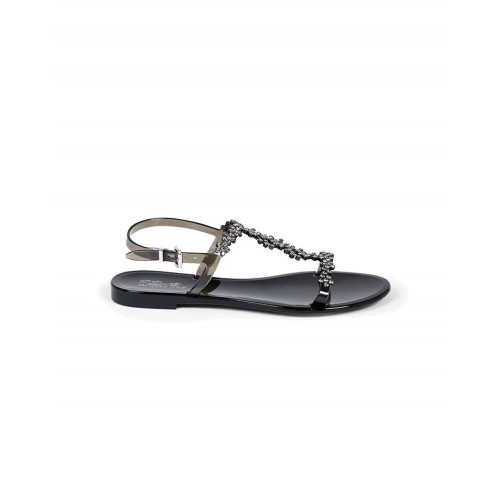 Black beach sandals with Swarovsky stones Jacques Loup for women