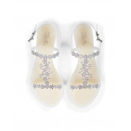 White beach sandals with Swarovsky stones Jacques Loup for women