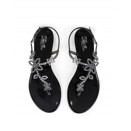 Black beach sandals with Swarovsky crystals Jacques Loup for women