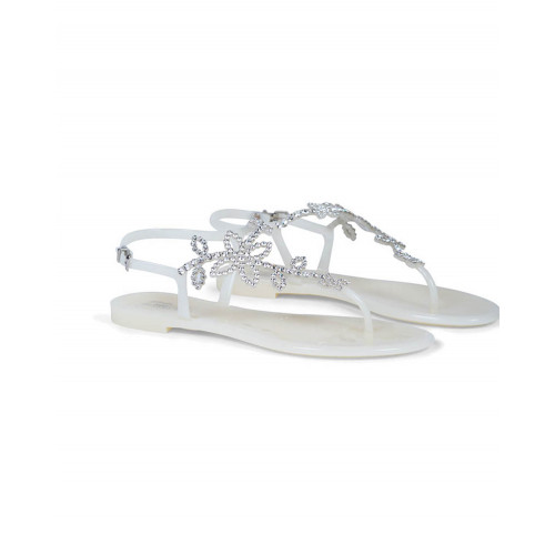 White beach sandals with Swarovsky crystals Jacques Loup for women
