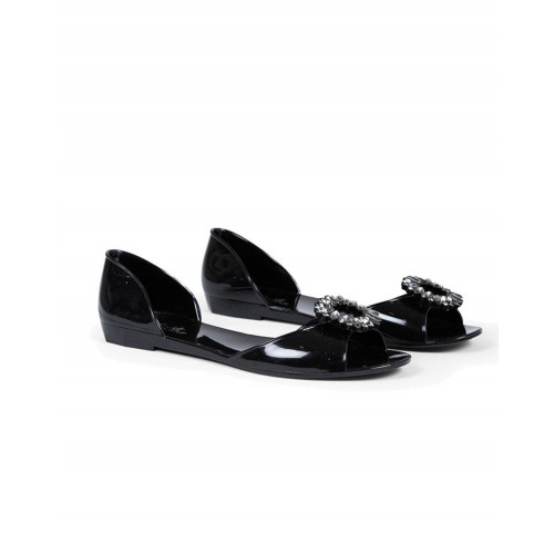 Black beach sandals with Swarovsky buckle Jacques Loup for women