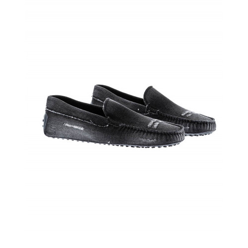 Black moccasins in used jean tissue Tod's for men