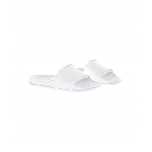 White beach mules with decorative nails Jacques Loup for women
