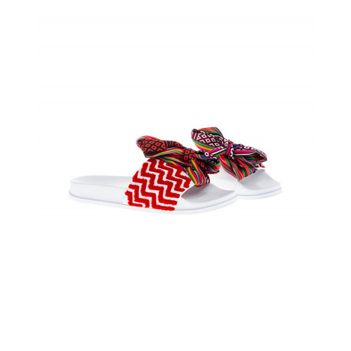 Achat Red and white beach mules with decorative knot Jacques Loup for women - Jacques-loup