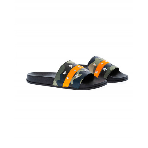 Achat Khaki and orange beach mules camouflage print Jacques Loup for men - Jacques-loup