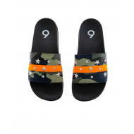 Khaki and orange beach mules camouflage print Jacques Loup for men