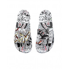 White beach mules with multicolored graffiti Jacques Loup for men