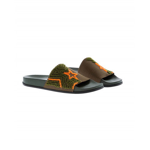 Green beach mules in stretch tissue Jacques Loup for men
