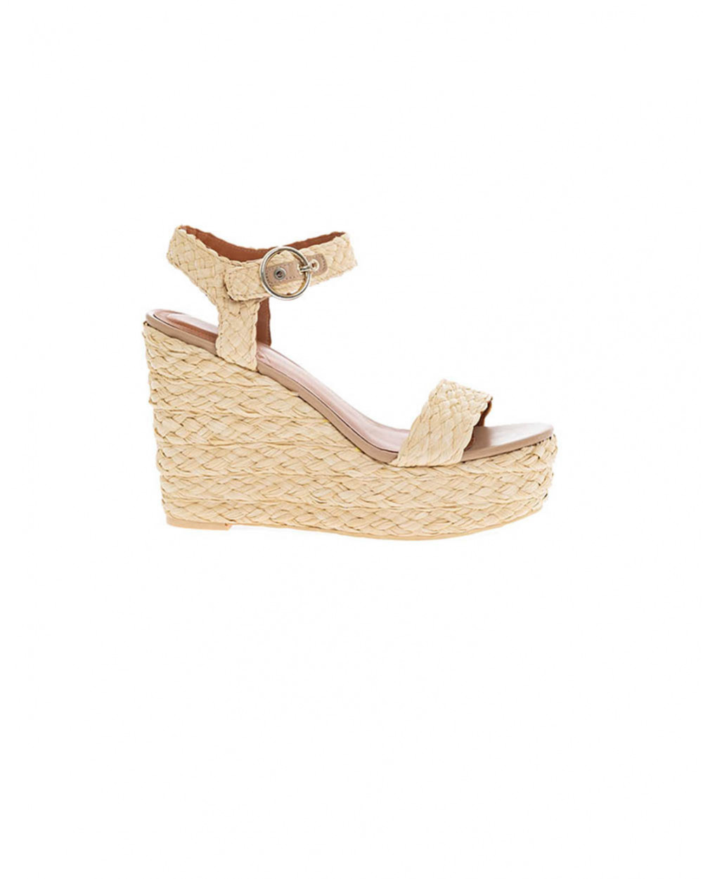 Beige raffia platform sandals What For for women