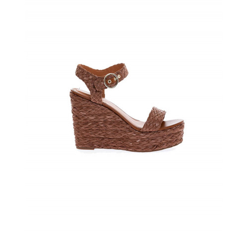 Achat Brown raffia platform sandals What For for women - Jacques-loup