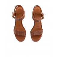 Brown raffia platform sandals What For for women
