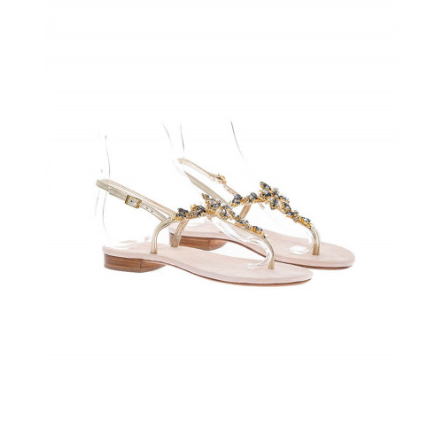 Platinum colored sandals with Swarovsky stones Jacques Loup for women