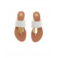 Ivory toe thong mules with gold plate Tory Burch for women