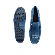 Blue moccasins in used jean tissue Tod's for men