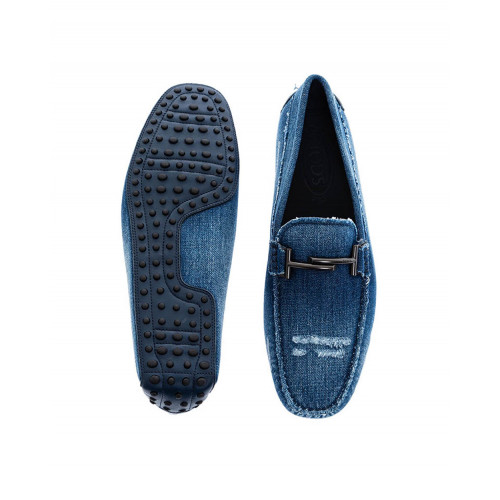 Blue moccasins in used jean with metallic bit Tod's for men