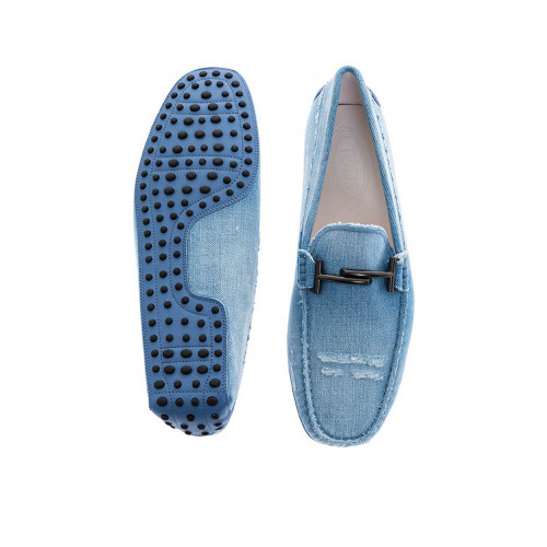 Light blue moccasins in used jean with metallic bit Tod's for men