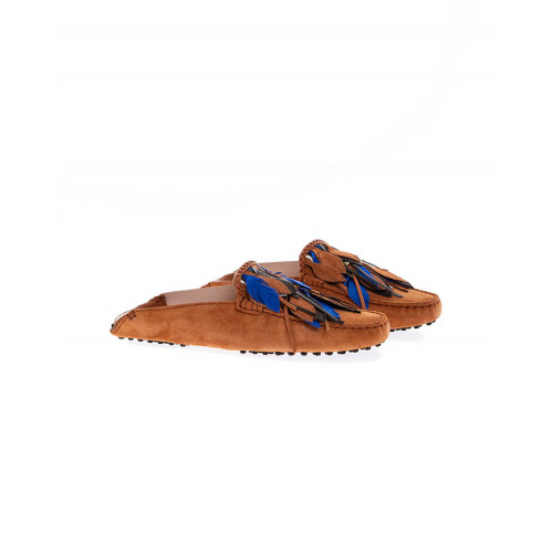 Cognac colored mules with decorative leaves Tod's for women