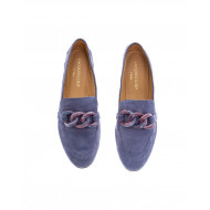 Denim blue moccasins with bakelite bit Jacques Loup for women