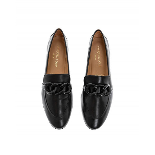 Black moccasins with bakelite bit Jacques Loup for women