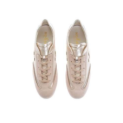 "Beige and gold colored sneakers ""Olympia"" Hogan for women"
