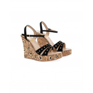 Black platform sandals with decorative nails Fernando Pensato for women