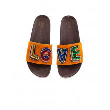 "Orange mules with decorative embroidery ""LOVE"" Jacques Loup for women"