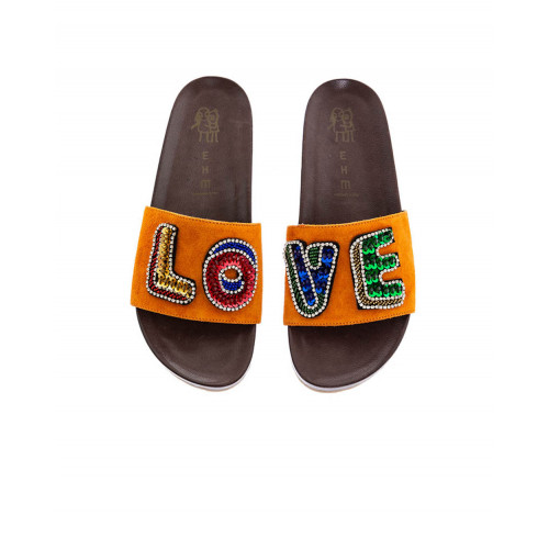 Achat Orange mules with decorative embroidery LOVE Jacques Loup for women - Jacques-loup