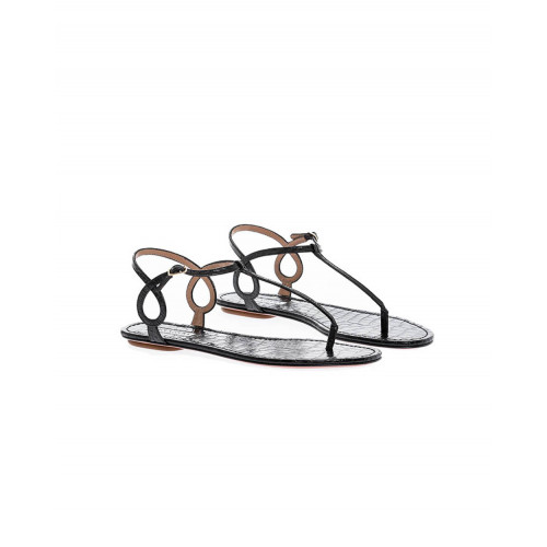 Black thong sandals with croco design Aquazurra for women