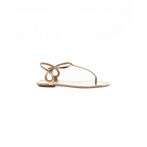 Achat Gold colored thong sandals Aquazurra for women - Jacques-loup