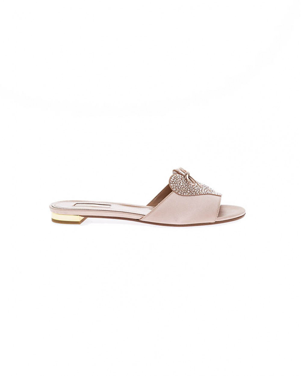 Powdery pink mules with Swarovsky stones Aquazurra for women