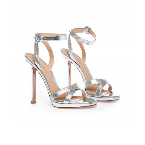 High-heeled silver sandales Gianvito Rossi for women