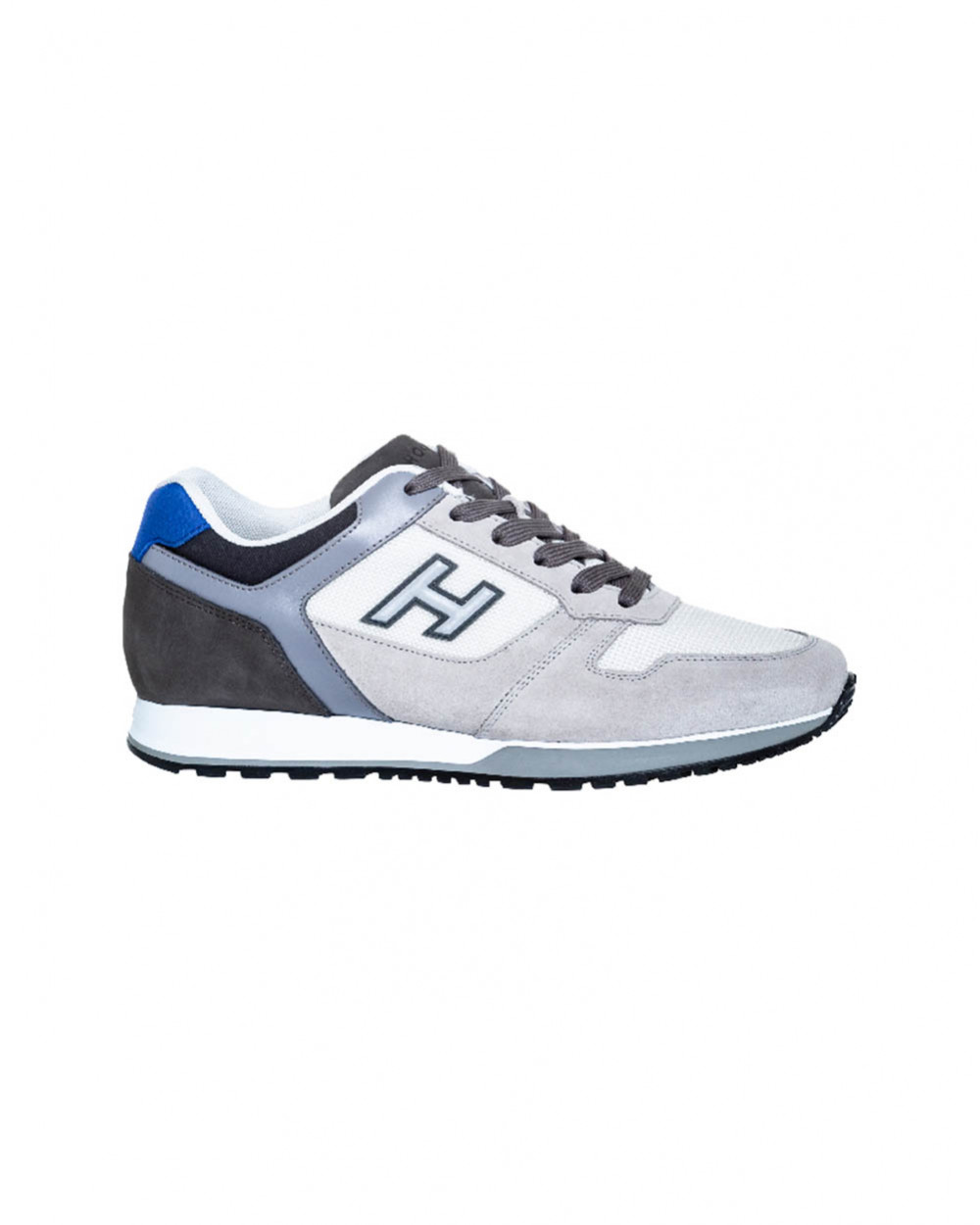 H321 - Calf and split leather sneakers with blue buttress